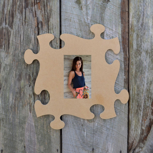 Unfinished Whimsical Picture Frame Wooden Paintable Wood Art Style Whimsical Puzzle