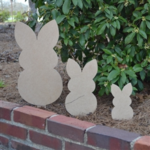 Unfinished outdoor DIY wooden yard art pattern bunny sign