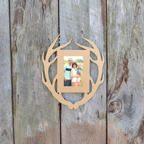 Unfinished Deer Antler Picture Frame Portrait Photo