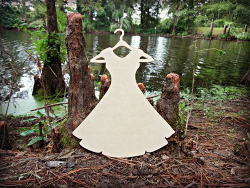 Dress On Hanger Unfinished Cutout, Wooden Shape, Paintable Wooden MDF DIY Craft