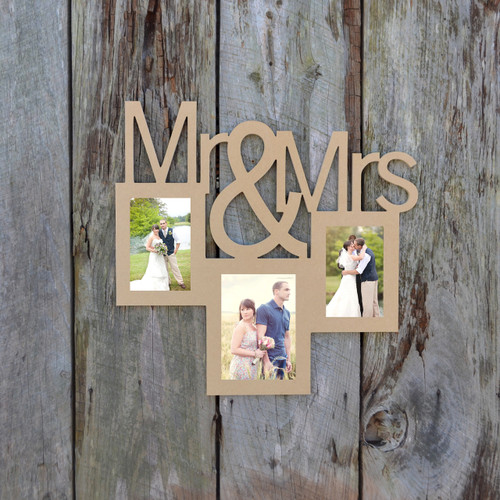 Mr and Mrs  2 Photo Picture Frame Unfinished, DIY