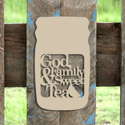 Mason Jar Frame God Family Sweet Tea, Letter Frame Wooden Unfinished  DIY Craft