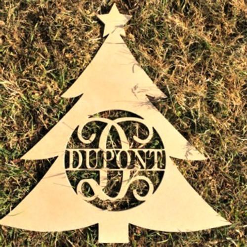 Christmas Tree Frame Family Name, Unfinished Framed Monogram