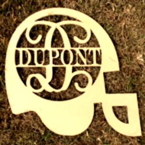 Football Helmet Frame Family Name, Unfinished Framed Monogram