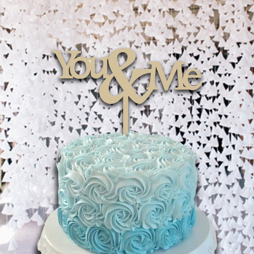 Cake Topper You & Me Monogram Wooden Unfinished Uppercase Alphabet Letter, DIY Craft