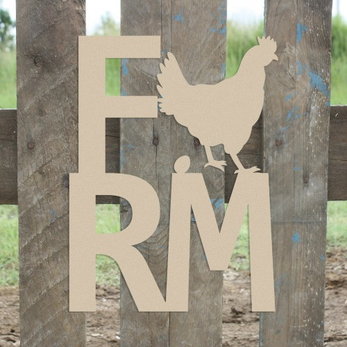Farm Chicken Sign Wall Art Wooden DIY Craft MDF