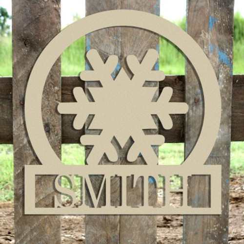 Snowflake Frame Family Welcome Sign, Unfinished Framed Monogram