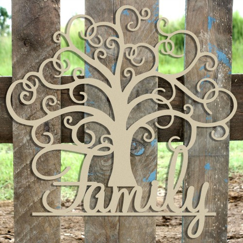 "21"" Family Tree Unfinished Cutout, Wooden Shape, MDF DIY"