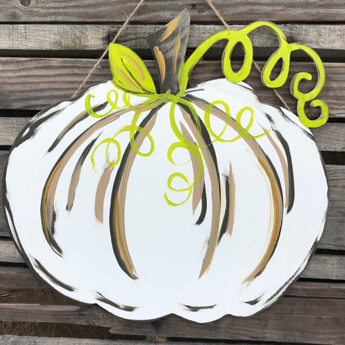 Finished Green and White Pumpkin Door Hanger