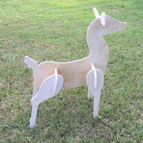 Reindeer Yard Art (Standing Doe) 1/2'' Birch Christmas Decor