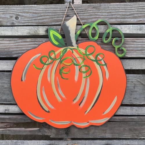 Orange Curly Stem Finished Pumpkin Door Hanger
