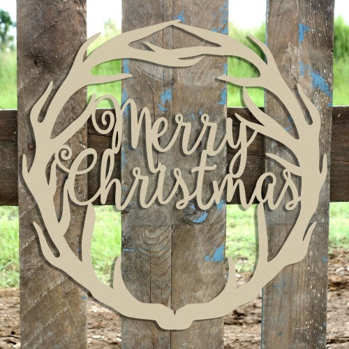 Merry Christmas Antler Wreath Wooden (MDF) Cutout - Unfinished  DIY Craft
