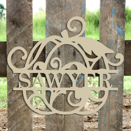 Swirly Pumpkin Family Name Frame, Unfinished Framed Monogram