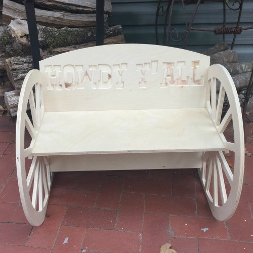 Children's Bench (Wagon Wheel), Unfinished Paintable Birch Wood