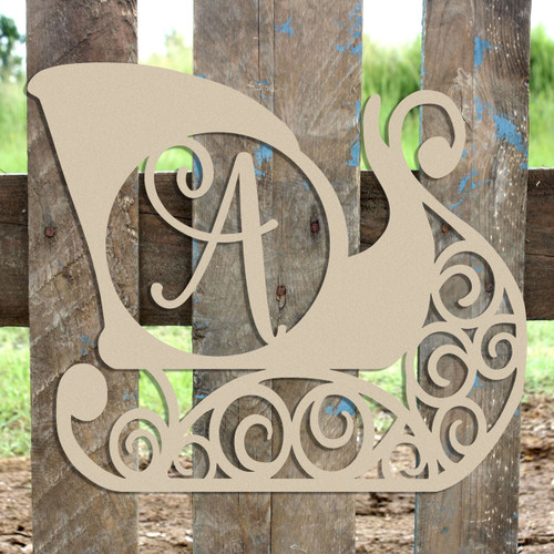 Santa's Sleigh Frame Ballerina Script Monogram Letter Wooden - Unfinished  DIY Craft