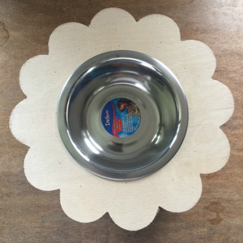 Wooden Flower Dog Bowl Holder, Wood Cat Feeder, Unfinished DIY, Stainless Steel Bowl Included