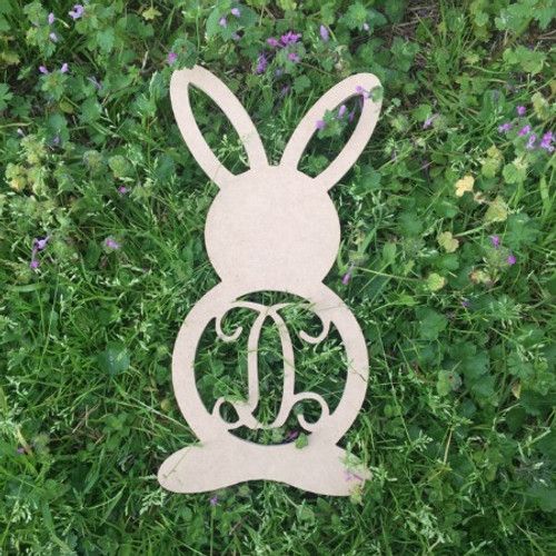 Rabbit Monogram with earholes Letter Wooden - Unfinished  DIY Craft