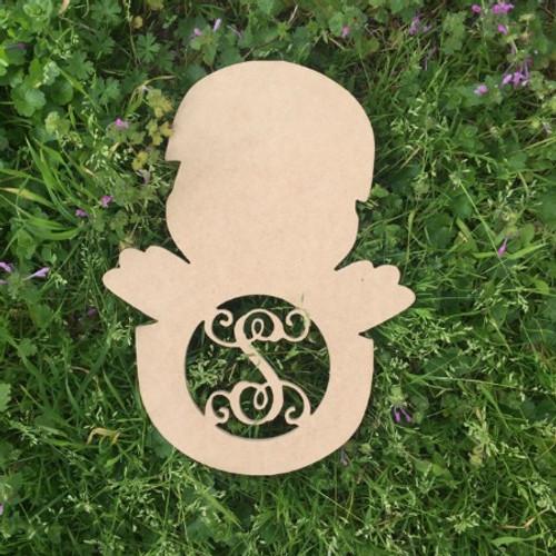 Chick in Egg Monogram Letter Wooden - Unfinished  DIY Craft