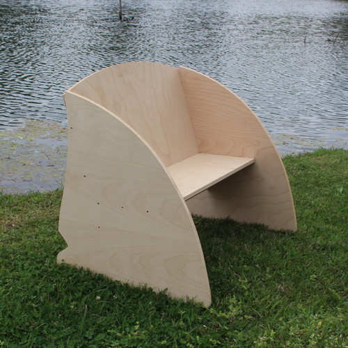 Children's Bench (Shark Fin), Unfinished Paintable Birch Wood