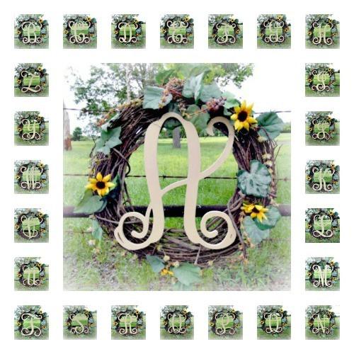Vinyl Single Letter Vine Monogram, Custom Window Deal Sticker