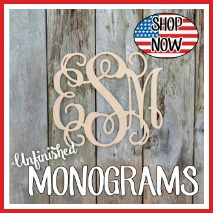Wooden Monogram, Unfinished, Monograms, Vine Letter
