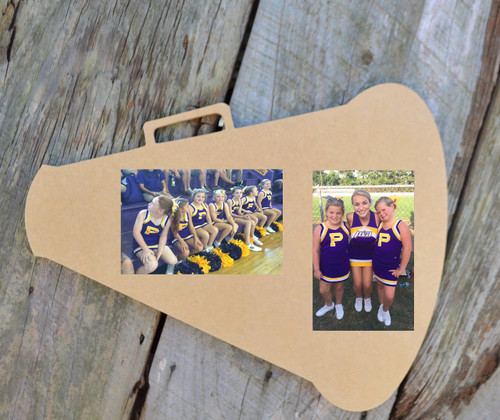 Unfinished picture frames paintable cutout shape megaphone for Cheerleading arts and crafts