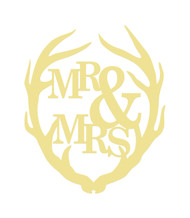 Antler Mr&Mrs Unfinished Cutout, Wooden Shape, MDF DIY Craft