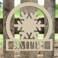 Snowflake Frame Family Welcome Sign, Unfinished Framed Monogram