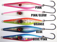 Available in 5 colors and with single or treble hooks.