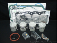 Land Rover Series 3 III & Defender 2.5 NA Non Turbo Diesel Engine Motor Overhaul Rebuild Kit.  Pistons, Rings, Gudgeon Wrist Pin, Crankshaft Main & Rod Bearings, Upper Cylinder Head Gasket & Lower Conversion Oil Pan Set with Crank Seals