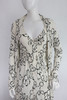 Halston for John Baldwin 2pc White w/ Black Floral Print Dress & Overcoat
