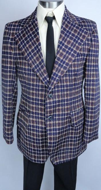 Vintage Plaid 1970s Polyester Sportcoat