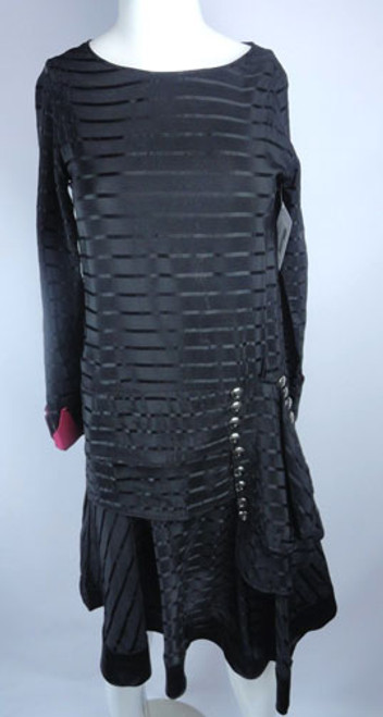 Vintage 1920s Black Moire Silk Dress with Glass Buttons