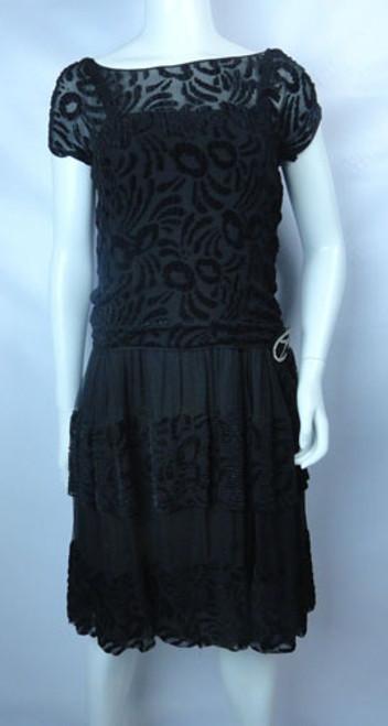 Vintage 1920s Black Velvet Burnout Evening Dress