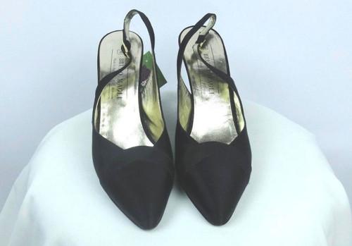 Vintage 1980s Bruno Magli Black Satin Sling Back Pumps - Size 7.5 AAA