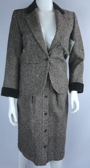 Vintage 1970s Yves Saint Laurent Rive Gauche Tweed and Velvet Skirt Suit