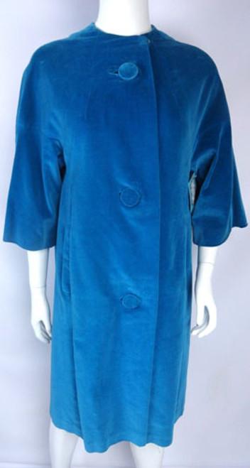 Vintage 1950s Aqua Blue Velvet Swing Coat