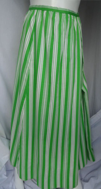 "Late 1960s Geoffrey Beene ""Beene Bazaar"" Lime Green and White Striped Maxi Skirt"