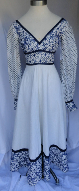 1970s Lillie Rubin Navy and White Quilted Floral Maxi Dress