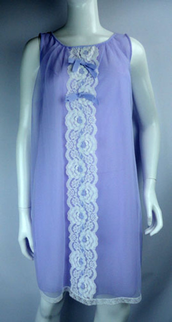 Vintage 1960s 2 Piece Lavender and Lace Nightgown and Robe Set