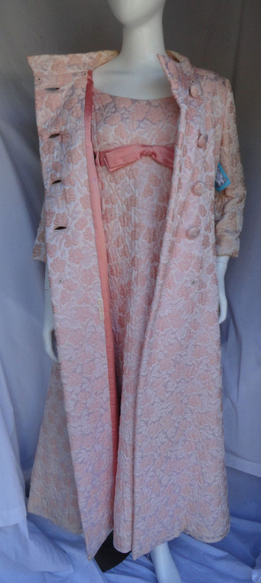 1960s 2 Piece Mollie Parnis Quilted Light Pink Gown and Coat