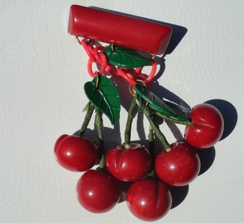 Rare Bakelite Cherry Brooch - Six Cherries