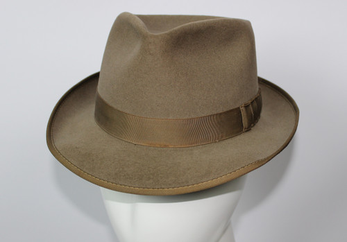 Vintage 1950s Adam Pacesetter Fedora Hat with Shark's Gill Bow