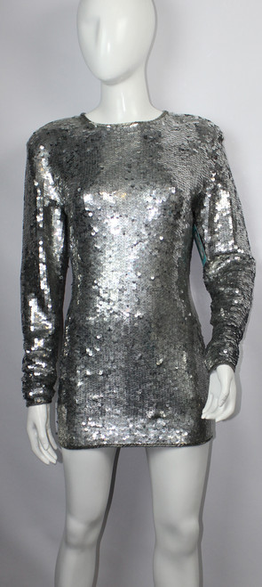 Vintage 1980s Cathy Hardwick Silver Sequin Knit Mini Dress