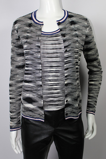 Vintage 1970s Missoni Black and White Graphic Knit Cardigan and Shell