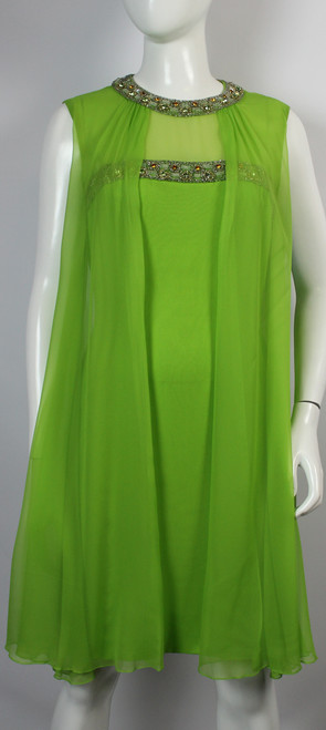 Women's Vintage 1960s Lime Green Dress with Chiffon Overlay SOLD