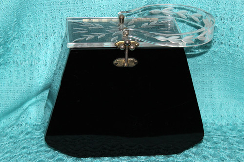 1950s Clear and Black Lucite Purse