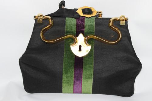 Vintage 1980s Roberta Di Camerino Black, Green and Purple Velvet Handbag