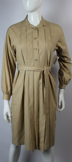 Vintage 1970s Yves Saint Laurent Beige Raw Silk Dress