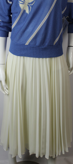 Vintage 1980s Accordion Pressed Cream Chiffon Skirt